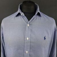 Polo Ralph Lauren Mens Shirt 16 40/41 (LARGE) Long Sleeve Blue Regular Fit Check