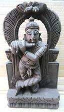 ANTIQUE WOODEN HAND CARVING LORD KRISHNA PLAYING FLUTE DECORATIVE WALL HANGING