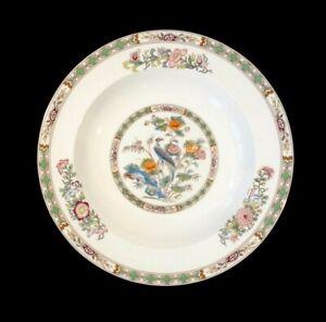 Beautiful Wedgwood Kutani Crane Brown Trim Large Rimmed Soup Bowl
