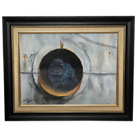 "Fine Original 20th Century Oil Painting Pigeon Portrait ""Home Base"" John Lawer"