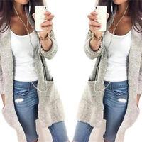 Fashion Women Loose Sweater Long Sleeve Knitted Cardigan Outwear Jacket Overcoat