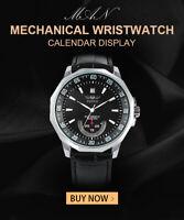 Men's Automatic Mechanical Watch Leather Strap Calendar Display Wristwatch