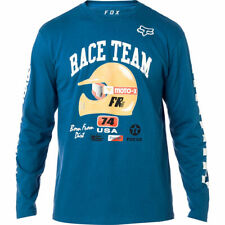 FOX RACING SPEEDWAY LONG SLEEVE TEE DST BLUE MX LOGO T-SHIRT MEDIUM WAS $32.00!