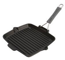 "Staub Cast Iron 9.5"" Square Folding Grill Pan Matte Black NEW"
