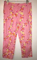 Lilly Pulitzer Pink Floral Capri Stretch Pants Sz 10 EUC