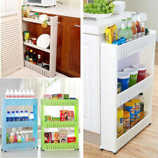 Slim Slide Out Kitchen Trolley Rack Holder Storage Shelf on Wheels White US