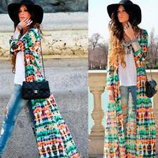 Vogue Women Tie-Dye Printing Long Sleeve Boho Beach Gypsy Maxi Cardigan Dress G