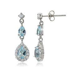 Sterling Silver Blue & White Topaz Fashion Teardrop Earrings