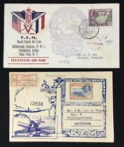CURACAO 1943/46 -3 x COVER / CARD -SPEC FLIGHT KLM -F/VF