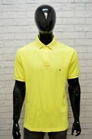 Polo Maglia Uomo TOMMY HILFIGER Taglia XL Manica Corta Shirt Cotone Giallo Slim