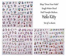 Hello Kitty Juego De 12 Hojas de Pegatinas de uñas dibujos animados transferencias de calcomanías de agua