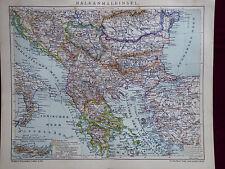 Landkarte Balkanhalbinsel, Türkei, Bulgarien, Bosnien etc., Brockhaus 1904