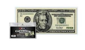 200 Regular Dollar Bill Currency Sleeves - Money Holders- Protectors