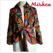 Beautiful Multicolored Blouse with Tie Size M