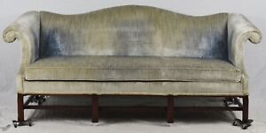 Hickory Chair Mahogany Chippendale Camel Back Sofa Blue Velvet Fabric