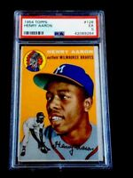 1954 TOPPS HANK AARON ROOKIE CARD PSA 5 EXCELLENT-CARD # 128-LOOKS EVEN BETTER!