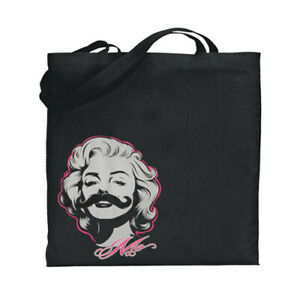 Marilyn Monroe Funny Mustache Decal Canvas Tote Book Laptop Bag School Gifts