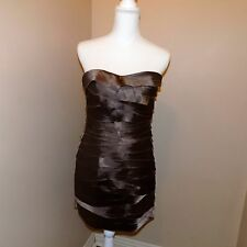 Bebe strapless shutter pleat women's dress brown Size M