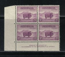 172 Mnh Australia Merino Sheep Postage Stamps Inscription Block Of 4 1946
