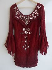 NWT $250 Shell Game Shift Dress Free People Lace Flared Bell Sleeves Beaded 8 M