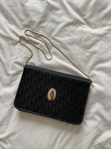 Vintage Christian Dior Monogram Black Gold Evening Bag