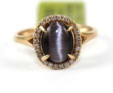 Oval Purple Cat Eye Chrysoberyl & Diamond Halo Ring 14k Rose Gold 1.73Ct
