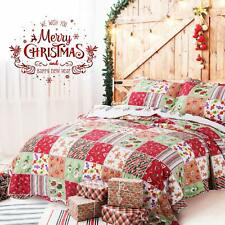 Quilt Christmas 3 Pieces Bedspread Patchwork Reversible Soft Lightweight, Gift