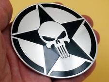 Voiture Auto Moto Métal 3D Chrome Punisher Crâne Réservoir De Gaz Autocollant