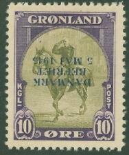 GREENLAND #22v (22v1) 10ore INVERTED OVPT, og, NH signed STOLOW