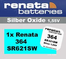 1x Renata Uhren Batterie Knopfzelle 364 SR621SW AG1 Silberoxid Neu Blisterware