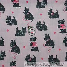 BonEful Fabric FQ Cotton Quilt Pink Gray Scottie Dog Baby Girl Dot Puppy Westie