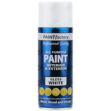 3 x 400ml All Purpose White Gloss Aerosol Spray Paint Household Car Plastic