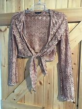 """Pink Beige Black Bolero / Cardigan Size 10 Chest 34"""" By Florence & Fred"""