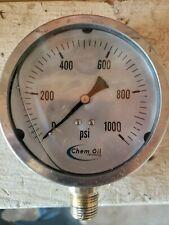 "Chem Oil 4"" 0-1000 psi Pressure Gauge, 1/2"" Npt liquid filled."