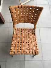 Esszimmerstuhl aus Bambus-Holz mit Lederbespannung
