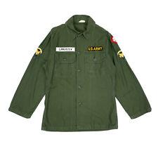 60s Us Army Sateen Cotton Field Shirt Og107 Vietnam Named Ssi