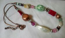 Faux pearl Shell and brass tone necklace bohemian beaded