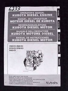 KUBOTA Z482-E3 Z602-E3 D722-E3 D782-E3 D902-E3 DIESEL ENGINE OPERATORS MANUAL