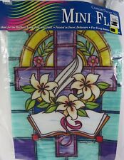 Spring Easter Stained Glass Cross Outdoor Home Yard Decor Garden Flag