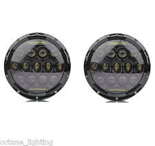 """7"""" Black Projector HID White 6K LED Daymaker DRL Headlight Light Bulb Lamps Pair"""