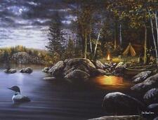 """Jim Hansel """"Northern Solitude """" Loon Camping Lake   Print  16"""" x 12"""""""