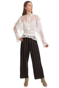 RRP€685 IRO Silk Top Blouse Size 36 / S Ruffle Embroidered Shirred Waist Lace Up