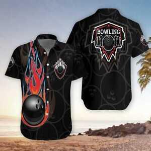 Black Bowling With Fire Hawaiian Shirts Full Size S-5XL