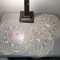 "Vintage Hand Crocheted Doilies Pink Cream Matching Set of 3 Fine Thread 11""-15"""