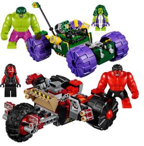 387pcs Super Hero Hulk Vs Red Hulk Team Vehicle Building Block Toys For Kids