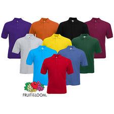 Mens Fruit of the Loom Polo Shirt Plain Short Sleeve Polo T Shirt Top S - 2XL
