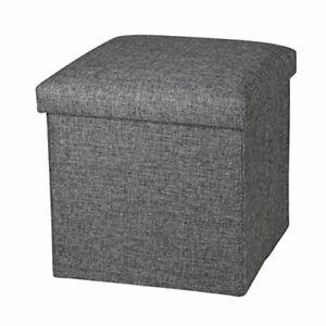 OT01 Linen Folding Storage Ottoman Cube Footrest Seat, 12 X 12 X 12 Linen Gray