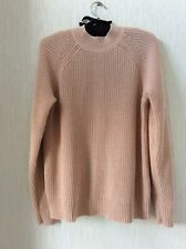 H&M BLUSH PINK COTTON BLEND THICK KNIT JUMPER ZIP BACK FASTENING SIZE SMALL