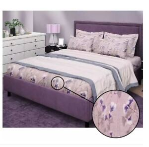 Bedsheet Fitted Sheet Cover Linen Collection with Pillowcase - (QUEEN) - PURPLE