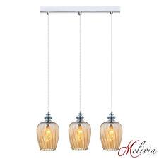 sHängelampe Pendelleuchte 3x40W 58cm Glas Bernstein Deckenlampe Hängeleuchte E14